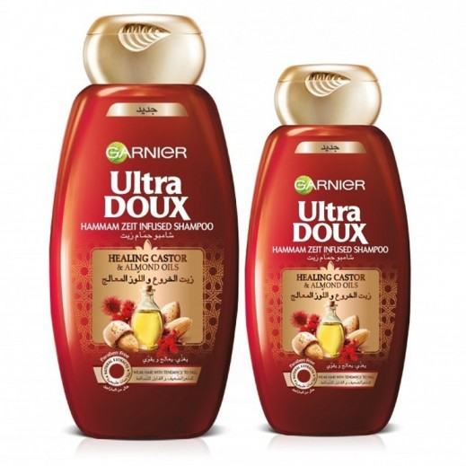 Garnier Ultra Doux Healing Castor Hammam Zeit Infused Shampoo 400 ml + 200 Free Prom