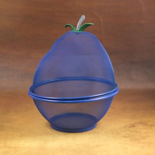 سلة فواكة شبكية بغطاء وتصميم فاكهة الكمثرى - أزرق