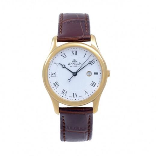 أبيلا – ساعة يد سويسرية للرجال بحزام جلدي بني وهيكل ذهبي (AP-627.01.0.1.01)