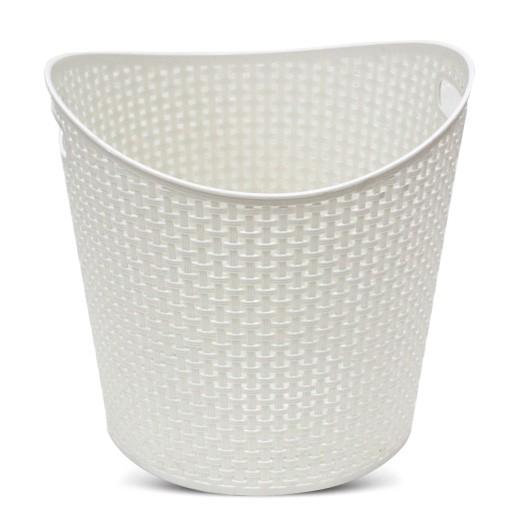 سلة غسيل بلاستيك متوسطة – أبيض