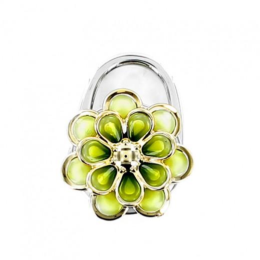 قفل ستانليس ستيل بزهور ذهبية