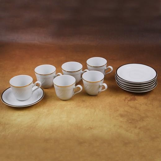 توجنانا – طقم فناجين قهوة بورسلان مع طبق بتصميم أبيض وذهبي 12 قطعة