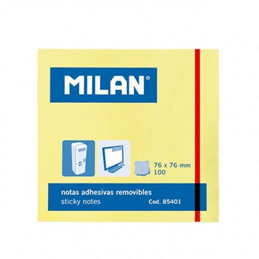 ميلان – ورق لاصق 100 ورقة  3 × 3 إنش - أصفر (10 حبة)