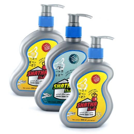 """الصانع – """"شذا"""" صابون سائل لغسيل الأيدي بروائح مختلفة 350 مل (2 حبة + حبة مجاناً)"""