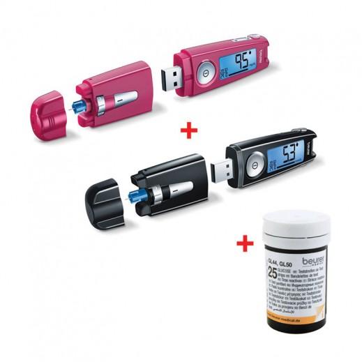 بيورير – جهاز GL50 لقياس السكر في الدم بلون أسود + جهاز بلون وردي + 50 شريط إختبار