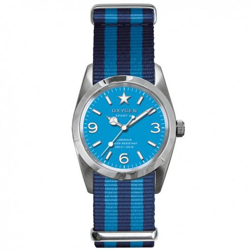 ساعة أوكسيجين سبورت للسيدات بقطر 34 مم – لون أزرق داكن مع تركواز
