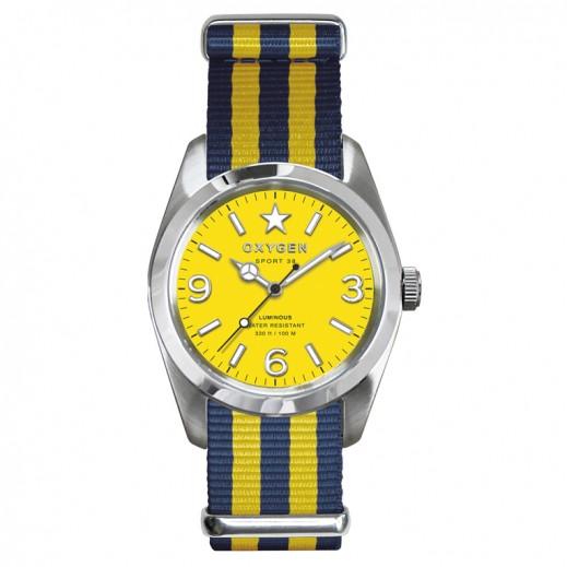 ساعة أوكسيجين سبورت  38  للسيدات – لون أزرق داكن مع أصفر