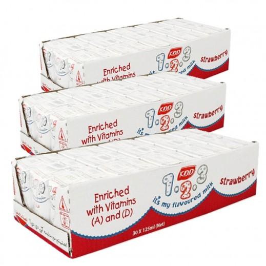 كى دى دى – حليب بنكهة الفراولة 125 مل ( 3 كرتون × 30 حبة )
