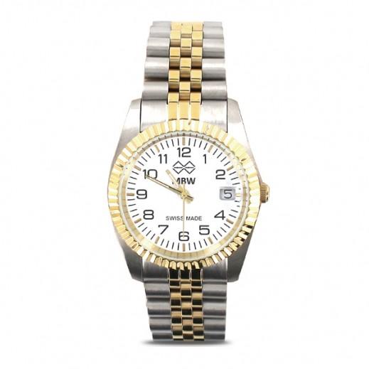 إم بي دبليو – ساعة سويسرية للرجال بحزام ذهبي من الستانليس ستيل وأرقام إنجليزية