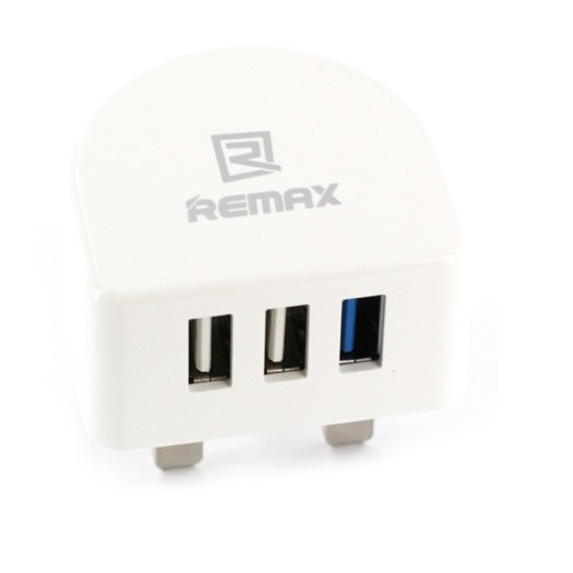 Remax Charger Plug With 3 USB White