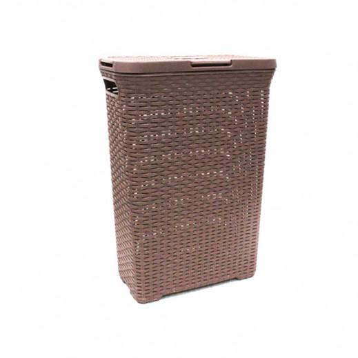 سلة غسيل مع غطاء – بني غامق