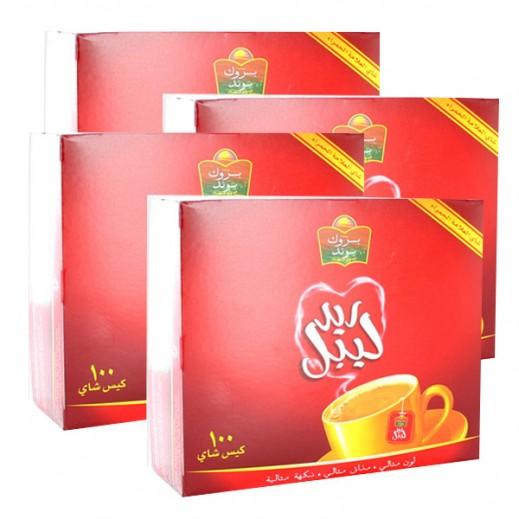 بروك بوند - شاي ريد ليبل 100 كيس ( 4 حبة ) - عرض التوفير