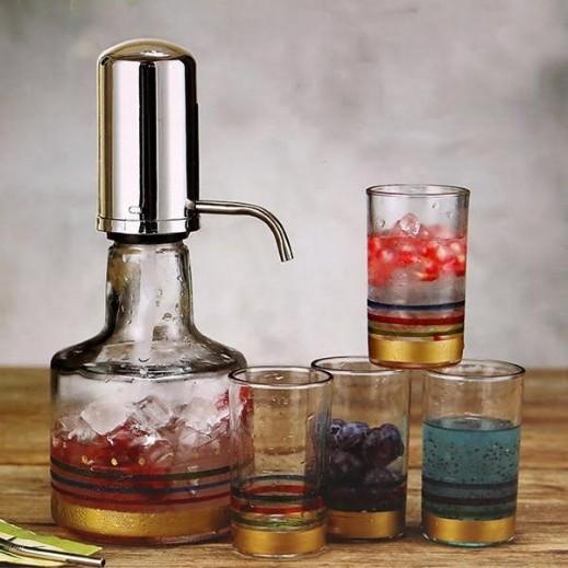 وابا – مضخة ماء زجاجية يدوية 1.2 لتر + 4 أكواب
