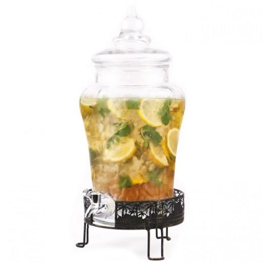 موزع العصير الزجاجي مع حامل معدني  8 لتر