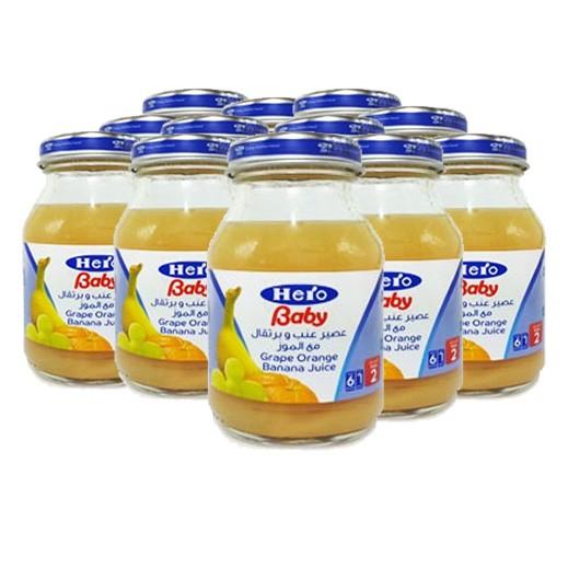 هيرو بيبي – عصير عنب وبرتقال مع الموز لتغذية الأطفال 130 مل (12 حبة)