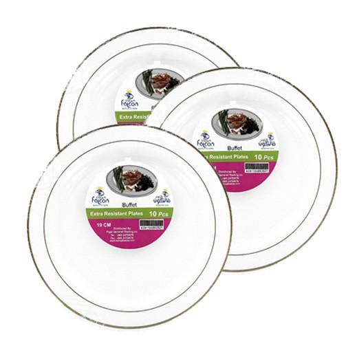 فالكون - أطباق مائدة بلاستيك بيضاء 19 سم ( 10 حبة × 3 باكيت ) - عرض التوفير