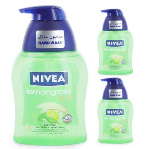 نيفيا – صابون سائل لتنظيف اليدين بزيوت العناية وعطر عشب الليمون 250 مل ( 3 حبة ) - عرض التوفير