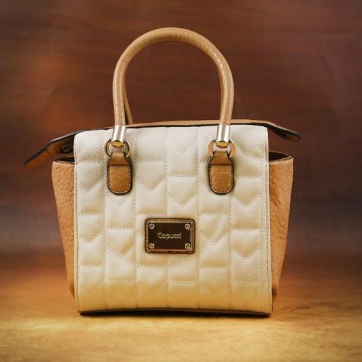 كابوتشي – حقيبة يد جلد للسيدات - أبيض بيج/جملي