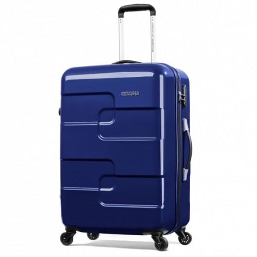 """أميريكان توريستر – حقيبة سفر """" Puzzle Cube """" بعجلات 58 سم – أزرق"""