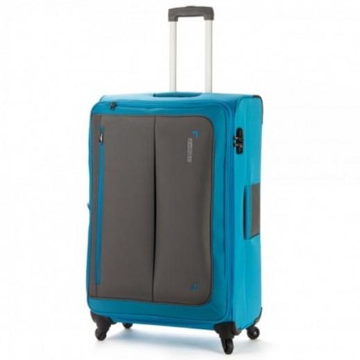 """أميريكان توريستر – حقيبة سفر """" Portbello """" بعجلات 55  سم – أزرق مع رمادي"""