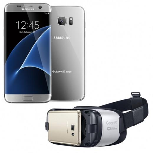 سامسونج جالكسي S7 مزدوج الشريحة 32 جيجابايت فضي+ سامسونج نظارات العالم الافتراضي VR BOX