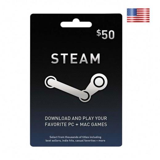 كارت Steam Wallet بقيمة 50 دولار – مخزن ألعاب US