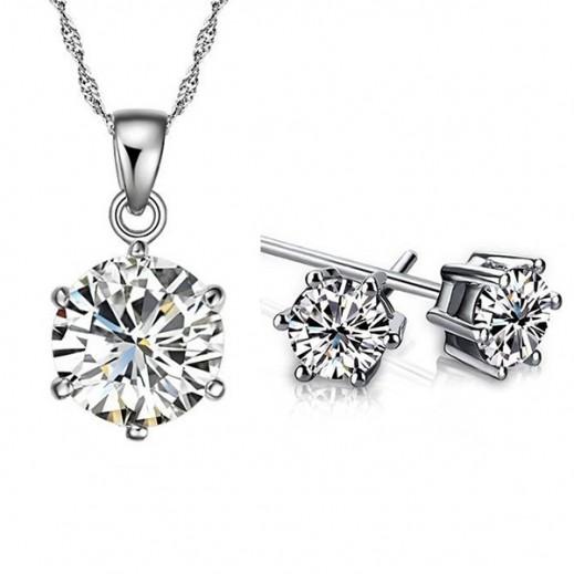 نيكسون - طقم مجوهرات مطلى بالذهب الأبيض عيار 18 ومرصع بأحجارالزركون 6 ملم موديل M00908