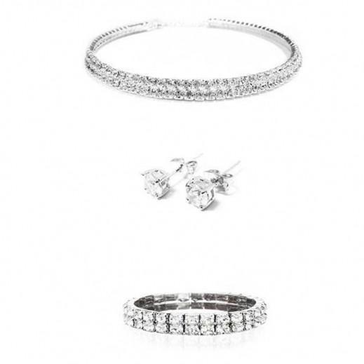 نيكسون - طقم مجوهرات الزفاف مطلى بالذهب الأبيض عيار 18 ومرصع بأحجار الراين موديل M00995