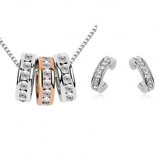نيكسون - طقم مجوهرات الزفاف مطلى بالذهب عيار 18 ومرصع بأحجار الراين موديل M01063
