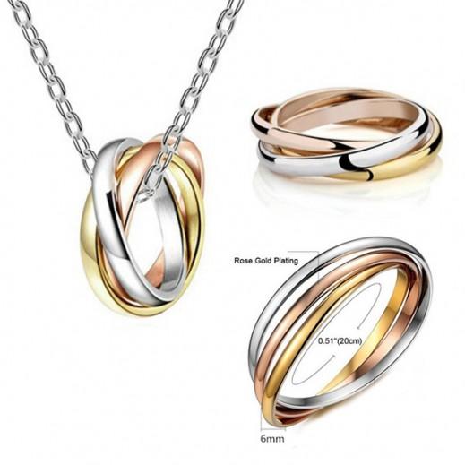 لويزو - طقم مجوهرات مطلي بـ 3 ألوان من الذهب عيار 18 موديل M01361