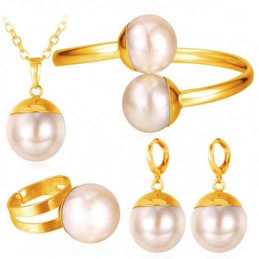 هيلين - طقم مجوهرات مطلى بالذهب الحقيقي عيار 18 ومرصع باللؤلؤ موديل M01466