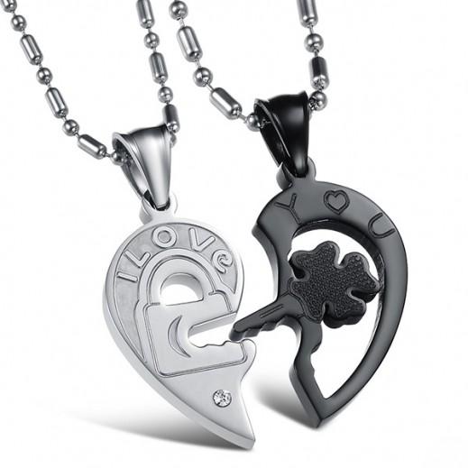 لوزيو – قلادة كابل قطعتين مصممة على هيئة زوجين من الفولاذ المقاوم للصدأ (V) M00450