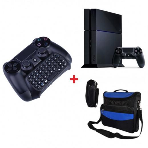 جهاز بلاي ستيشن 4 نظام PAL سعة 1 تيرابايت + لوحة مفاتيح صغيرة لبلاي ستيشن 4 بلوتوث لاسلكية + حقيبة