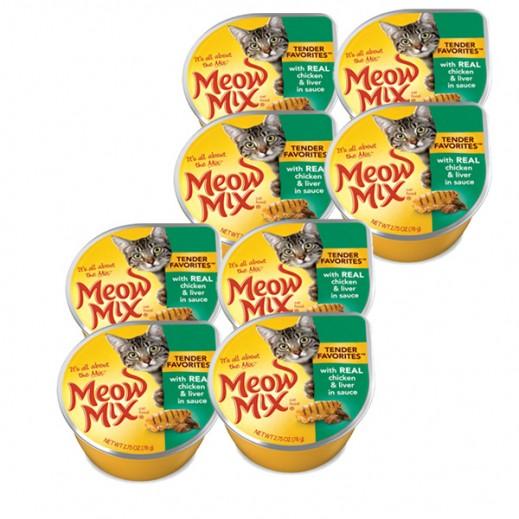 ميو ميكس – طعام القطط من الدجاج والكبد في الصلصة 78 جم (8 حبة)