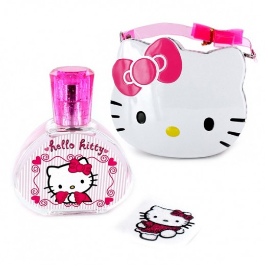 هالو كيتي – حقيبة معدنية تحتوي علي عطر للفتيات 50 مل + لاصق لامع