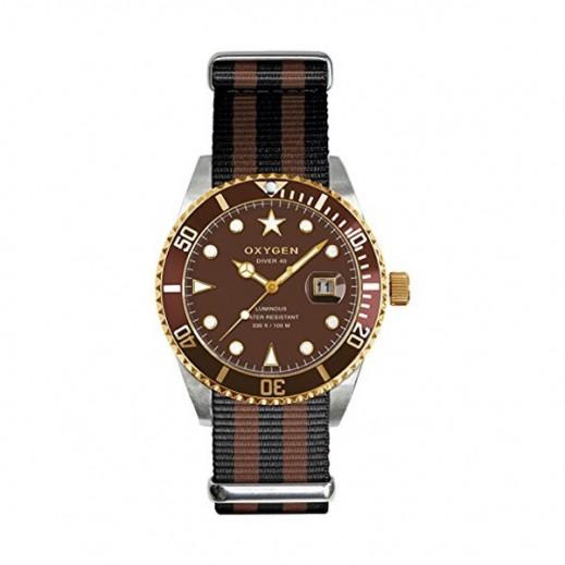"""أكسجين – ساعة """"دايفر"""" لكلا الجنسين بحزام بني/أسود موديل EX-D-GOL-40"""