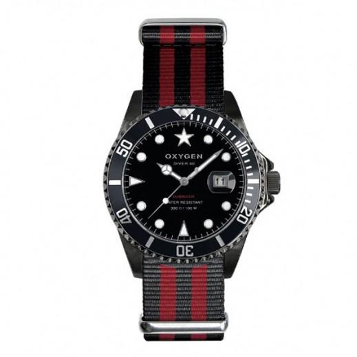 """أكسجين – ساعة """"دايفر"""" لكلا الجنسين بحزام أحمر/أسود موديل EX-D-MBB-40"""