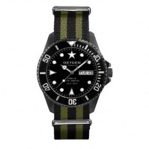 """أكسجين – ساعة """"دايفر"""" للرجال بحزام كاكي/أسود موديل EX-D-MBB-44"""