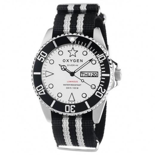 """أكسجين – ساعة """"دايفر"""" للرجال بحزام أبيض/أسود موديل EX-D-WHI-44"""