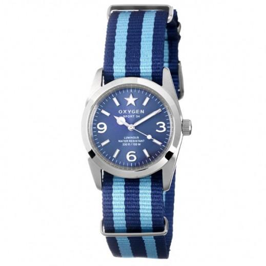 """أكسجين – ساعة """"سبورت"""" للسيدات بحزام أزرق/أزرق فاتح موديل EX-S-BOS-38"""