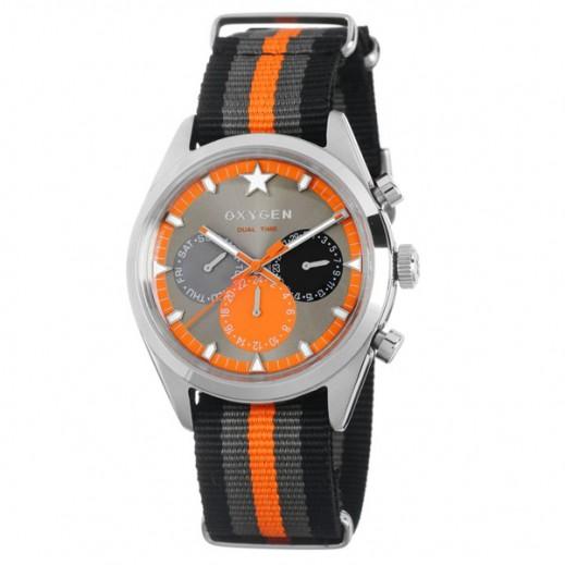 """أكسجين – ساعة """"سبورت"""" لكلا الجنسين بحزام أسود/رمادي/برتقالي موديل EX-SDT-TAN-40"""