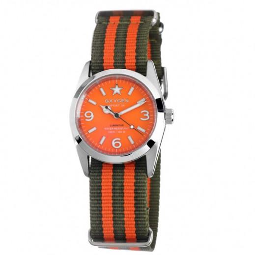 """أكسجين – ساعة """"سبورت"""" للسيدات بحزام كاكي/برتقالي موديل EX-S-ORA-34"""
