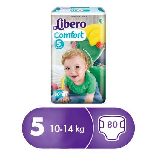 """ليبرو – حفاضات أطفال """" كومفرت فيت """" المرحلة 5 ( 10 – 14 كجم ) 80 حبة"""