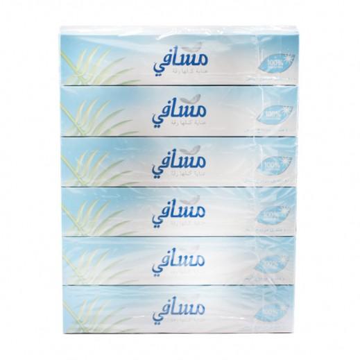 مسافي – مناديل مزدوجة بيضاء - عبوة 100 منديل (6 حبة)