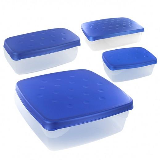 طقم أوعية بلاستيك مع غطاء لحفظ وتخزين الأطعمة 4 قطع( أزرق)