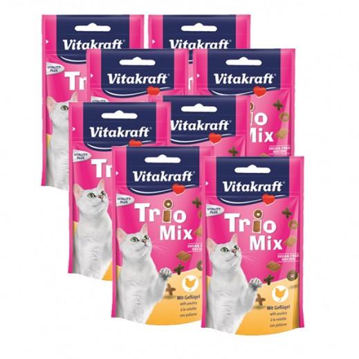 """فيتا كرافت – طعام قطط """"تريو ميكس"""" بنكهة الدجاج 60 جم (8 حبة) - أسعار الجملة"""