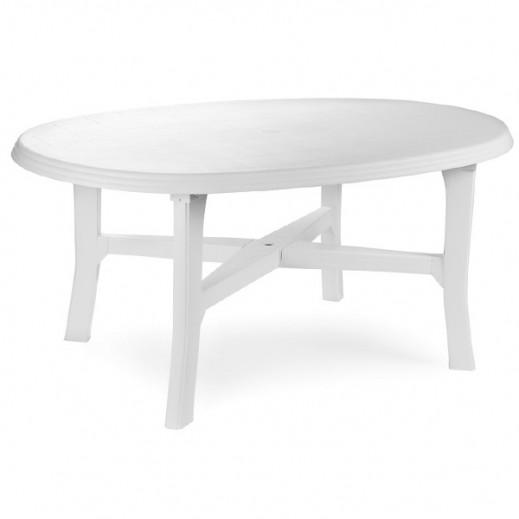بروجاردن – طاولة بلاستيك بيضاوية – أبيض (165×110×72 سم )