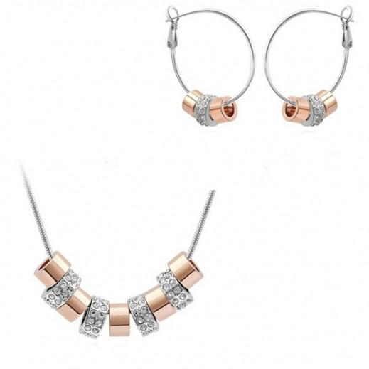 هيلين – طقم مجوهرات من 9 أحجار كريستال مطلي بالذهب الوردي عيار 24 موديل M01160