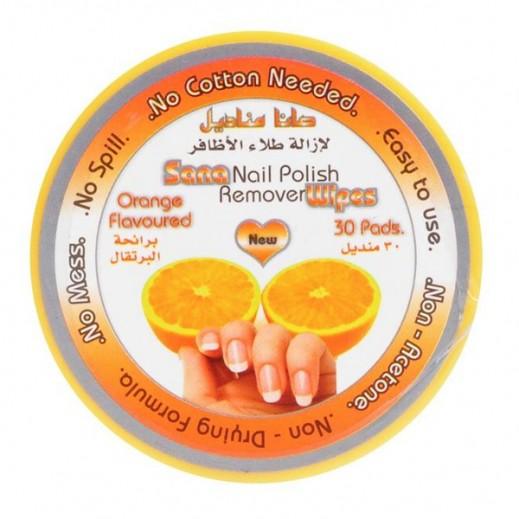 صانا – مناديل لإزالة طلاء الأظافر برائحة البرتقال – 30 منديل