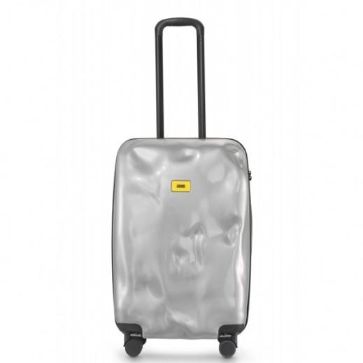 كراش باجيدج – حقيبة سفر سبينر لون فضي – حجم متوسط (66 × 43 × 26 سم)